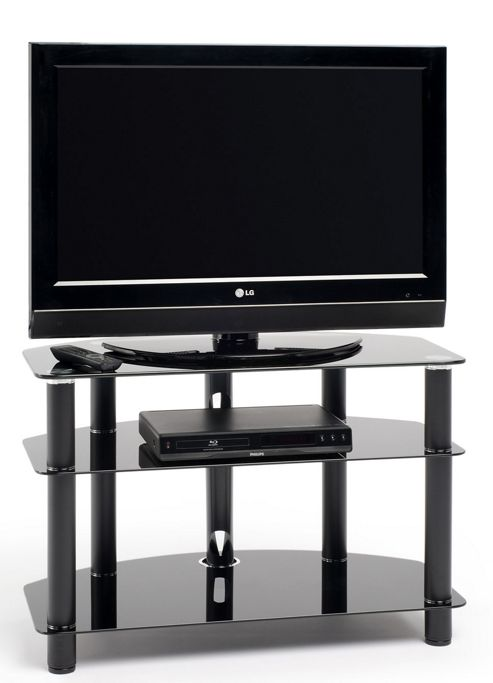 Techlink Dais Black Glass Corner TV Stand