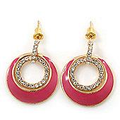 Pink Enamel, Crystal Double Hoop Earrings In Gold Plating - 30mm Length