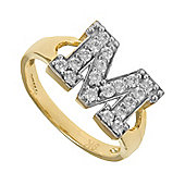 Jewelco London 9ct Gold Ladies' Identity ID Initial CZ Ring, Letter M - Size O