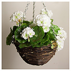 Artificial White Geranium Hanging Basket