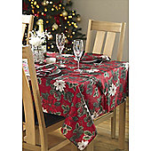 Christmas Red Poinsettia Oblong Tablecloth 53x71in