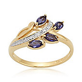 Gemondo Gold Plated Sterling Silver 0.36ct Iolite & 2.4pt Diamond Floral Ring