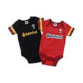 Wales WRU Rugby Baby Bodysuits - 2015/16 Season - Black & Red
