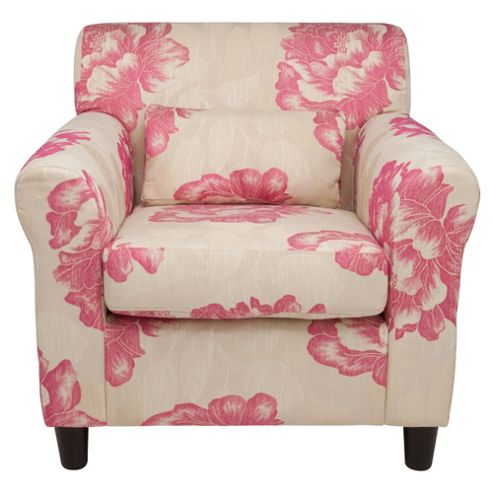 Lily Floral Accent Chair in Pink