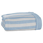 Clair de Lune Candy Striped Knitted Blanket, Blue