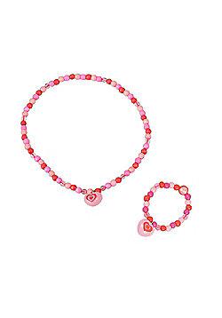Tatiri Heart Bracelet and Necklace (Light Pink Bead)