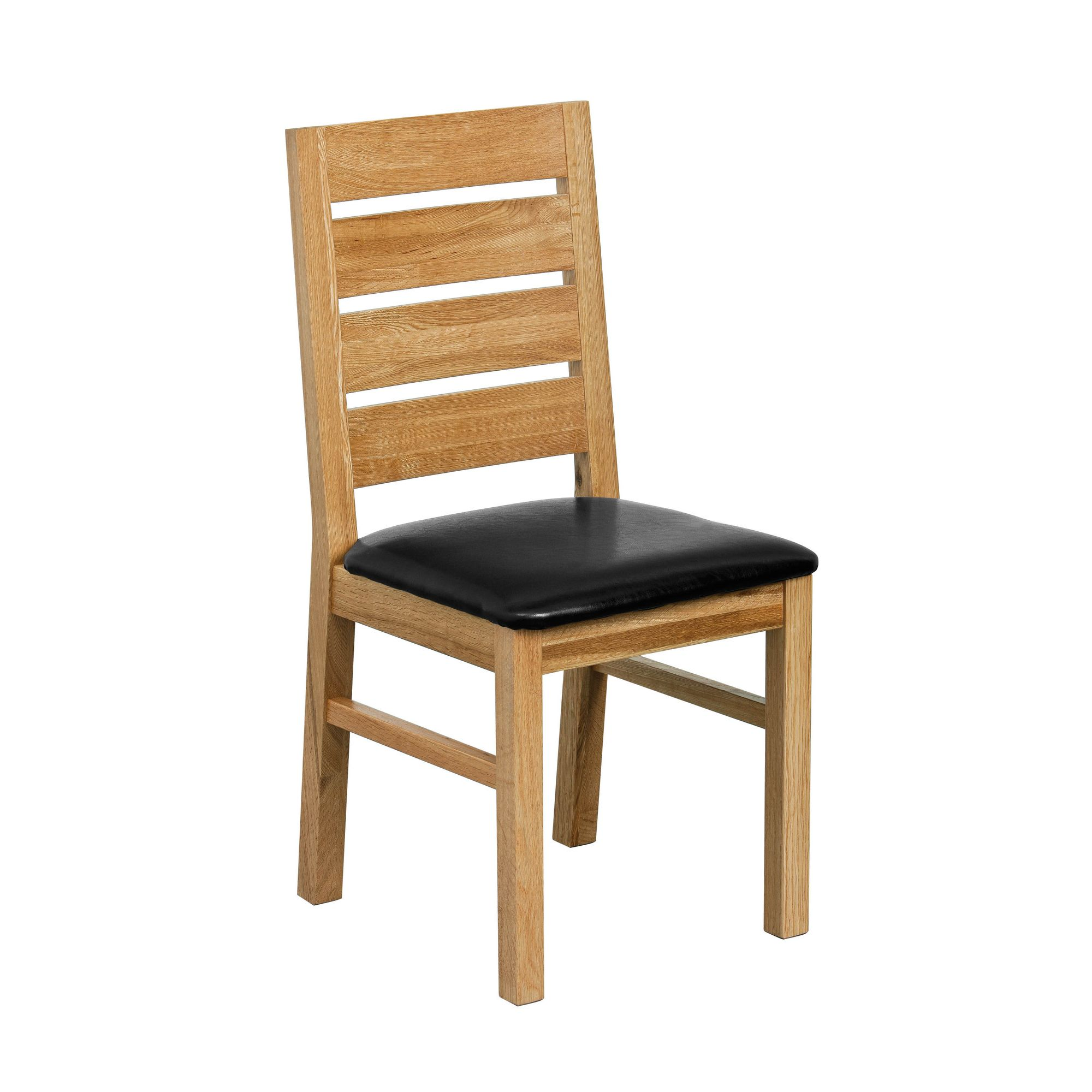 Premier Housewares Ladder back Solid Oak Dining Chair with faux leather seatpad (Set of 2)