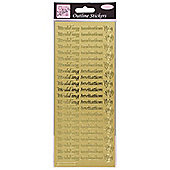 Outline Stickers Wedding Invitation Gold