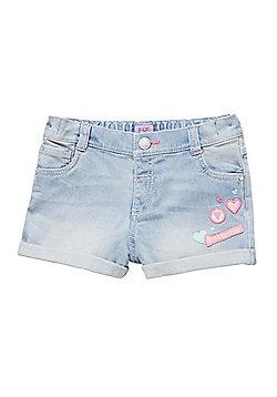 F&F Embroidered Badge Denim Shorts - Blue