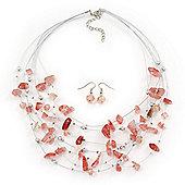 Light Pink/ Transparent Semiprecious Stone & Silver Metal Bead Multistrand Necklace & Drop Earrings Set