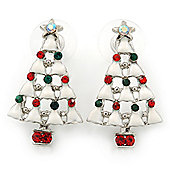 Red, Green Crystal, White Enamel Christmas Tree Stud Earrings In Rhodium Plating - 30mm Length