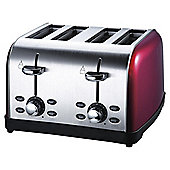 Tesco 4 Slice SS colour Toaster - Red