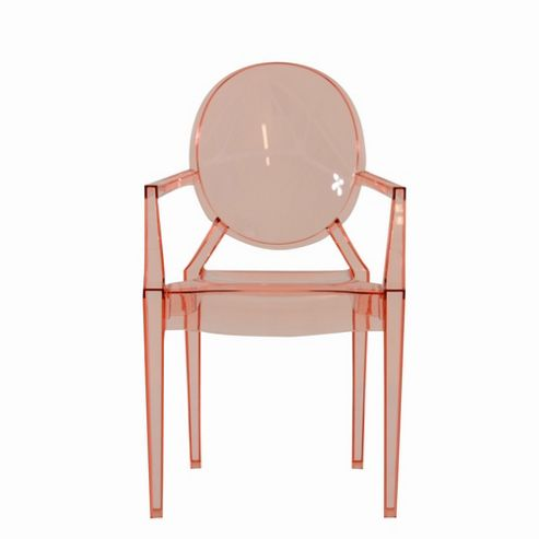 Louis XV Style Rose Pink Ghost Chair