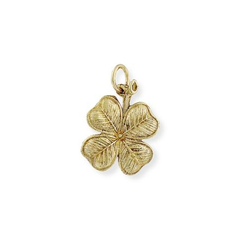 Jewelco London 9ct Light Yellow Gold - Four-Leaf Clover Charm Pendant -