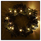 Pre-lit Traditional Christmas Wreath, 51cm (25 white LEDs)