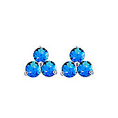 QP Jewellers 1.50ct Blue Topaz Trinity Stud Earrings in 14K White Gold