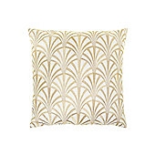 Biba Fan Embroidered Cushion, Cream In Cream