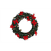 Homegear 60Cm Decorated Christmas Wreath Holiday Door Decor Mesh With Berries