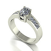 18ct White Gold 7x5 Oval Moissanite Single Stone Ring with Channel Set Shoulders