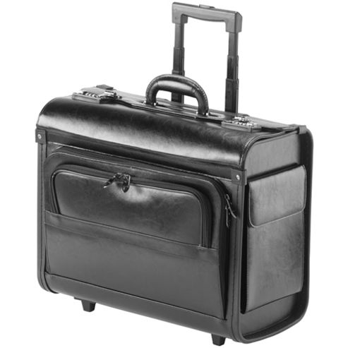 Falcon Leather 17 inch laptop trolley pilot case, great cabin luggage.