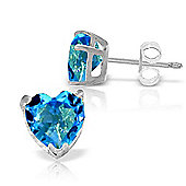 QP Jewellers 3.25ct Blue Topaz Heart Stud Earrings in 14K White Gold