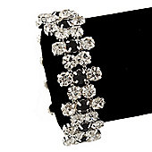 Black/Clear Swarovski Crystal Floral Bracelet In Rhodium Plating - 16cm Length/ 6cm Extension