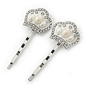 2 Vintage Inspired Simulated Pearl Crystal 'Crown' Hair Grips/ Slides In Rhodium Plating - 50mm Across