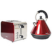 Igenix IGPK12 Breakfast Set Pyramid Kettle and 2 Slice Toaster - Metallic Red