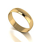 9ct Gold 5mm D Shaped Wedding Band