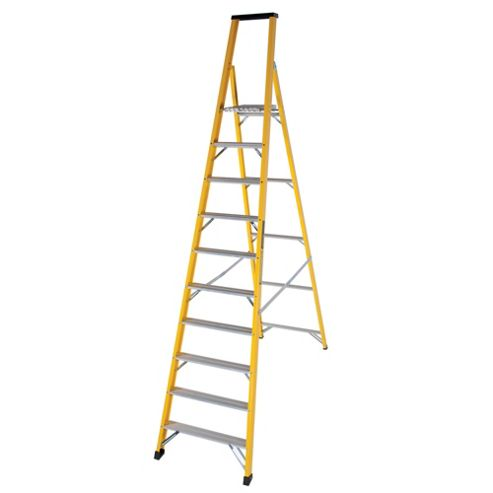 Trade 10 Tread GRP Fibreglass Platform Step Ladder