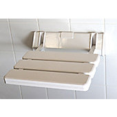 Space Saving White Plastic Slated Shower Seat with Aluminium Back Plate