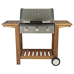 Tesco 3-burner Gas BBQ with Wooden Trolley