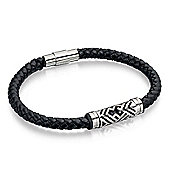 Men's Fred Bennett Black Leather Bracelet with Ribbed Clasp