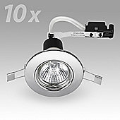 Pack of 10 Fire Rated GU10 Downlights in Chrome