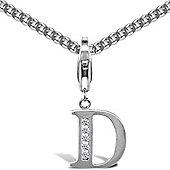 Jewelco London Silver Cubic Zirconia - Identity Initial - Charm or Pendant with Hook - Letter D