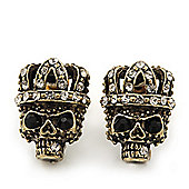 Small Diamante 'Skull In The Crown' Stud Earrings In Burn Gold Finish - 17mm Length
