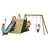 Plum Climbing Pyramid Wooden Outdoor Play Centre with Swings, Play Den & Slide