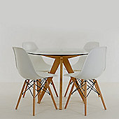 Atlantico Circle Glass Dining Table Set with 4 Eames DSW Chairs