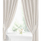 Natural Gingham Curtains 54s