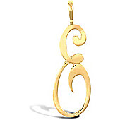 Jewelco London 9ct Gold Script Initial ID Personal Pendant, Letter E -1.4g