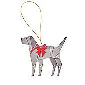 Grey Wooden Dog Christmas Tree Decoration