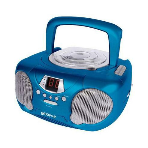 Groov-E Boombox Portable CD Player with Radio Blue