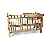 Scarlett Sleigh Cot Bed/Toddler Bed & Foam Mattress & Changer - Pine