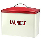 10L Metal Laundry Container With Lift Off Red Handle