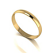 9ct Gold 3mm D Shaped Wedding Band