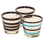 Tesco Glass Tealight Holder With Tealight, Set Of 3, Navy