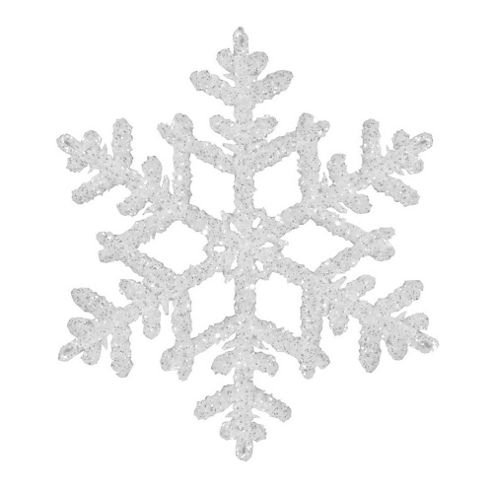 15cm White & Silver Glitter Snowflake Hanging Decoration