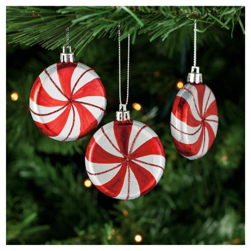 Tesco Candy Striped Baubles, 6 Pack