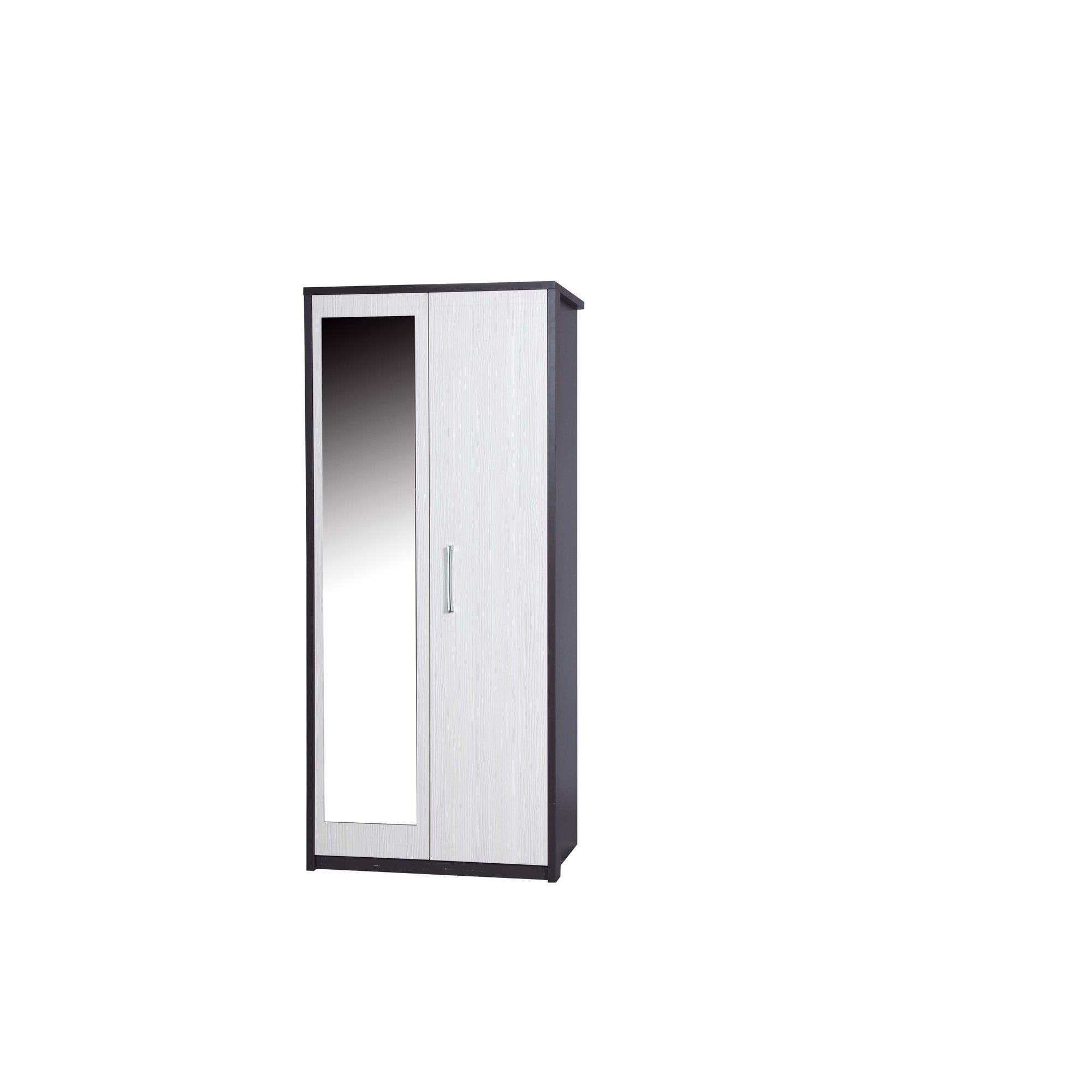 Alto Furniture Avola Double Wardrobe with Mirror - Grey Carcass With White Avola at Tesco Direct