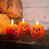 Set of 3 Mini Halloween Pumpkin Wax Candles